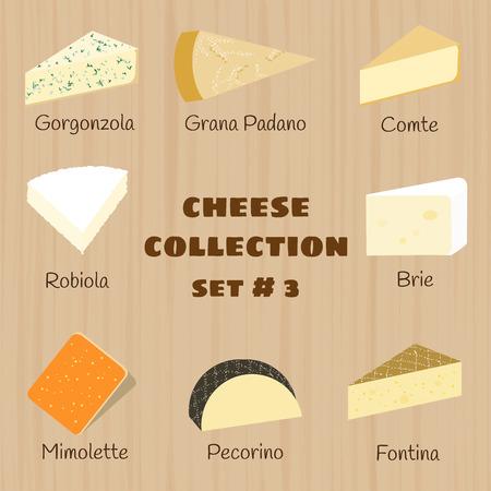 Käse-Sammlung auf hölzernen Hintergrund. Set 3. Gorgonzola, Grana Padano, comte, robiola, Brie, Mimolette, Pecorino, Fontina. Standard-Bild - 44254761