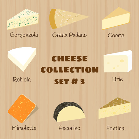 brie: Kaas collectie op houten achtergrond. Set 3. gorgonzola, Grana Padano, comte, robiola, brie, mimolette, pecorino, fontina. Stock Illustratie