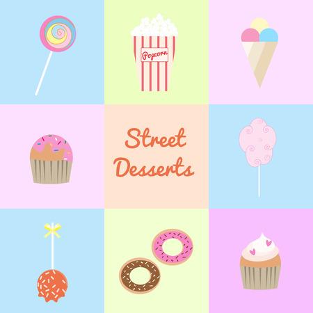 palomitas: Postres Street establecen. Lollipop, palomitas, helados, muffin, algodón de azúcar, manzana de caramelo, donas, magdalena. Vectores