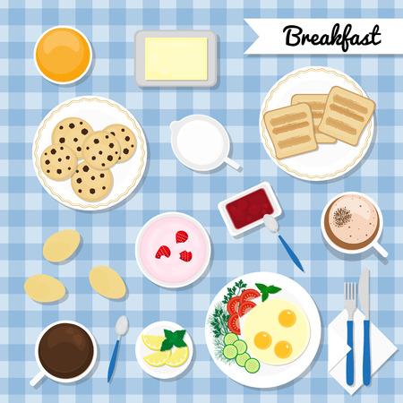 milk and cookies: Breakfast with healthy, fresh food. Traditional breakfast. Food and drink flat icons. Eggs, yogurt, juice, coffee macchiato, tea, toasts, jam jar, butter, milk, cookies. Breakfast concept.