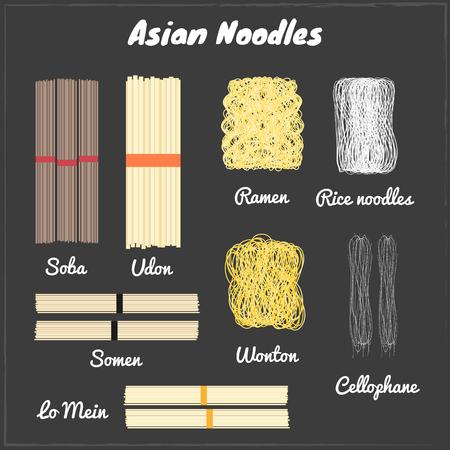 south east asian: Fideos asi�ticos. Soba, udon, ramen, fideos de arroz, somen, wonton, celof�n, lo mein (fideos de huevo). Diferentes tipos de fideos asi�ticos en la pizarra. Fideos chinos japoneses. La cocina del sudeste asi�tico