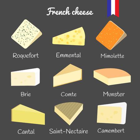 queso: Colecci�n de queso franc�s en la pizarra. Roquefort, emmental, mimolette, brie, comte, munster, cantal, Saint-Nectaire, camembert.
