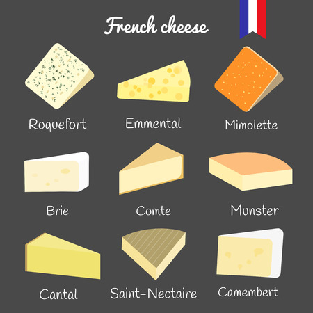 French cheese collection on the blackboard. Roquefort, emmental, mimolette, brie, comte, munster, cantal, saint-nectaire, camembert.