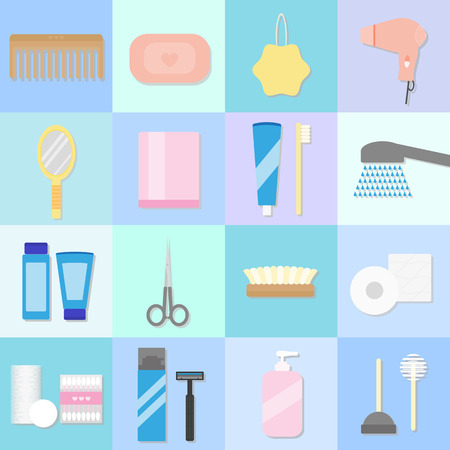 beauty care: Beauty care, spa and hygiene products set. 16 flat icons. Hygiene and healthcare concept. Vector. Items for body care and hygiene.