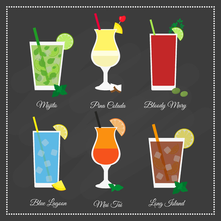 Popular summer drinks. Mojito, Pina Colada, Bloody Mary, Blue lagoon, Mai Tai, Long Island. Fresh iced drinks on the blackboard. Element of menu.