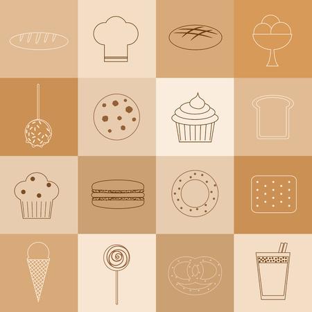 macaron: Bakery gesetzt. 16 Gliederung Symbole. Brotlaib, Kochm�tze, braunes Brot, Eis, Karamell-Apfel, Keks, kleiner kuchen, Scheibe Brot, Muffins, macaron, Bagel, Cracker, Eist�te, lollypop, Br�tchen, Kakao.