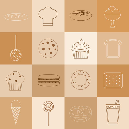 bagel: Bakery set. 16 outline icons. Loaf, chef hat, brown bread, ice cream, caramel apple, cookie, cupcake, bread slice, muffin, macaron, bagel, cracker, ice cream cone, lollypop, bun, cocoa.