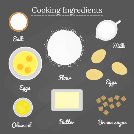 brown sugar: Cooking ingredients on the blackboard. Top view. Salt, flour, raw eggs, milk, eggs, brown sugar, butter, olive oil. Vector. Illustration