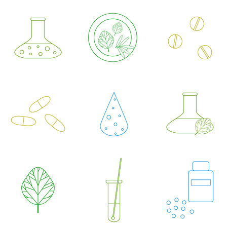 homeopathic: Herbal medicine and homeopathy. Outline medical icons. Pills, herbs, capsules, test tube, herbal potion, supplement, homeopathic pills. Alternative pharmacy. Illustration