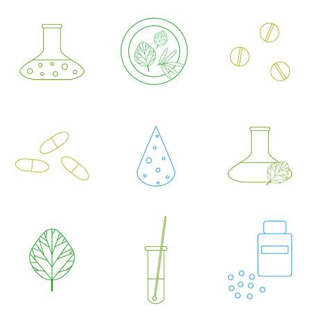 Plantilla De Diseño Con Elementos De Contorno Médicos. Iconos ...