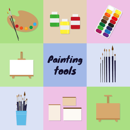 Painting tools set. Palette, paint brushes, easel, sketchbook and paper, moist colors, artist paints. 版權商用圖片 - 45024144