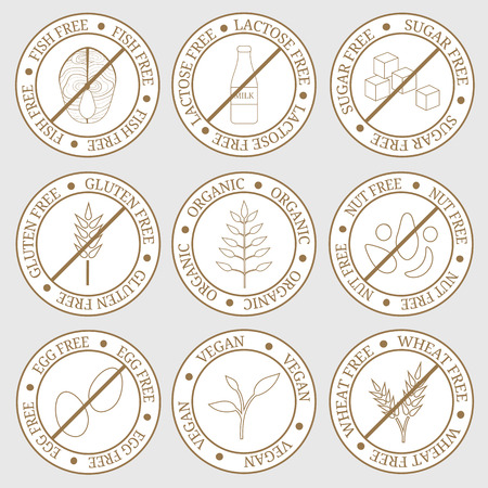 Round labels for allergens free products. Milk, gluten, nuts, wheat, eggs, sugar, fish. Organic, vegan. Healthy lifestyle concept. Also can be used for vegan, vegetarian and dietary products. Stock Illustratie