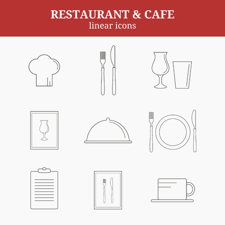 list wine: Linear icons for restaurant. Chef hat, cup, plate, fork and knife, menu list, wine glass, tray with lid, menu.