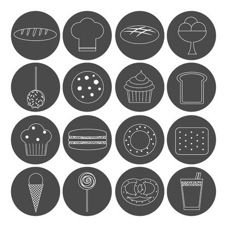 macaron: Bakery set. 16 outline icons. Loaf, chef hat, brown bread, ice cream, caramel apple, cookie, cupcake, bread slice, muffin, macaron, bagel, cracker, ice cream cone, lollypop, bun, cocoa.