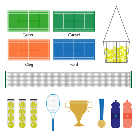 hard court: Big tennis items. Tennis racquet, balls, court, net, basket, prize cup, medal, bottles with drink water. Popular kinds of field: grass, carpet, clay, hard. Vector illustration. Illustration
