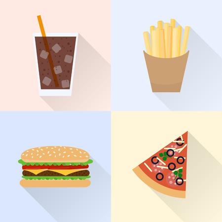hamburguesa: La comida chatarra establecido. Cola, patatas fritas, hamburguesas, rebanada de pizza. Estilo plano con largas sombras.