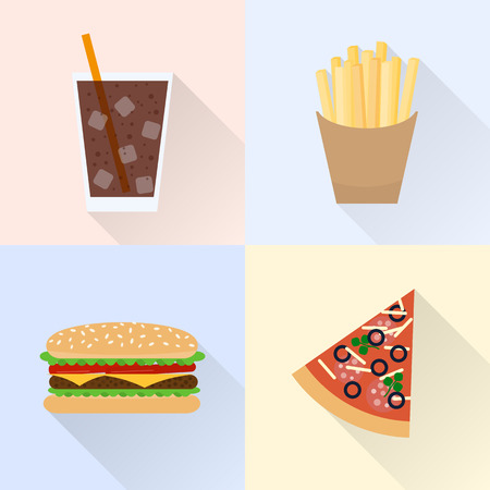 Junk food set. Cola, french fries, burger, slice of pizza. Flat style with long shadows.