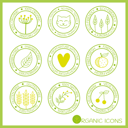 Organic icons in doodle style. Hand drawn elements. Vector design. 100% Organic, no animal testing, eco friendly, paraben free, from nature with love, farm fresh, gluten free, 100% natural, vegetarian.