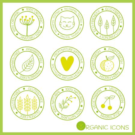 낙서 스타일에서 유기 아이콘. 손 요소를 그려. 벡터 디자인. 100 % 유기농, 아니 동물 실험, 환경 친화적 인, 파라벤 프리, 사랑, 신선한 농장, 무료 글루
