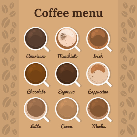 top menu: Coffee menu. Top view. 9 types of coffee on background with coffee beans. Perfect for menu. Vector illustration. Illustration
