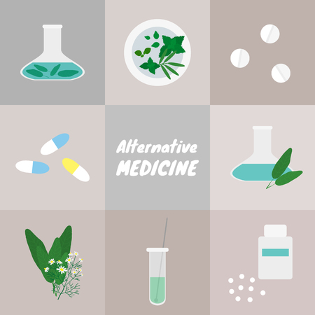 alternative: Alternative medicine set.  Illustration