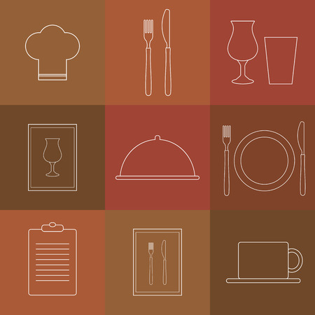 list wine: Outline icons for restaurant. Chef hat, cup, plate, fork and knife, menu list, wine glass, tray with lid, menu.