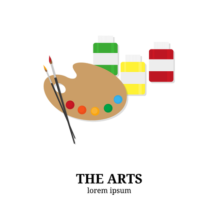fine art: The Arts. Palette, paintbrushes and paints isolated on white background. Flat style elements. Fine art concept.