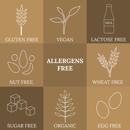 vegan: Outline icons for allergens free products. Milk, gluten, nut, wheat, egg, sugar free. Organic, vegan icons. Healthy lifestyle concept. Also can be used for vegan, vegetarian and dietary products.