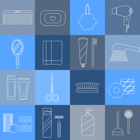 beauty care: Beauty care, spa and hygiene products set. 16 outline icons. Hygiene and healthcare concept. Vector. Items for body care and hygiene.