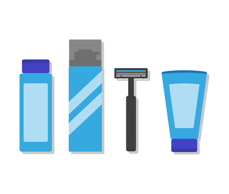 aftershave: Shaving lathercream, shaver, preshave or aftershave products. Hygiene and cosmetic items for men.