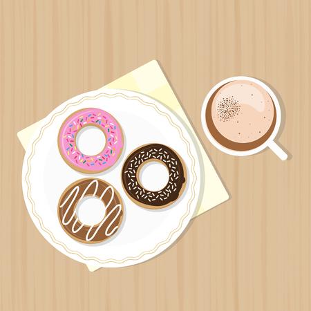 застекленный: Macchiato with sweet glazed donuts. Top view. Vector illustration. Coffee time concept. Иллюстрация