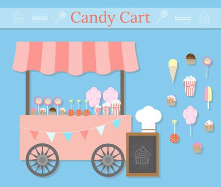 carretto gelati: Candy carrello con i dolci di strada. Dessert Diverse icone in stile appartamento. Negozio di dolci negozio locale. Zucchero filato  zucchero filato, lecca lecca, muffin, dolcetti, pop-corn, gelati, mele caramellate. Vettoriali