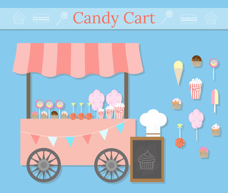 Candy cart with street desserts. Different desserts icons in flat style. Sweet shop local store. Cotton candycandy floss, lollypops, muffins, cupcakes, popcorn, ice cream, caramel apples.