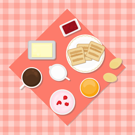 milk and cookies: Breakfast concept. Eggs, yogurt, juice, tea, toasts, jam jar, butter, milk, cookies. Traditional breakfast. Food in flat style. Illustration