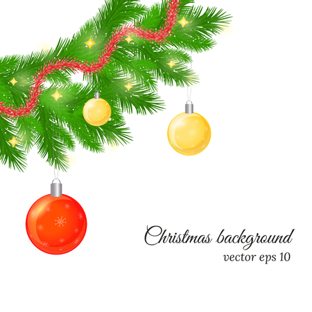 fir twig: Christmas and New Year background with fir tree twigs, glossy balls and trumpery. Beautiful Christmas greeting card with realistic fir twigs. Christmas fir twig with ornament on white background. Illustration