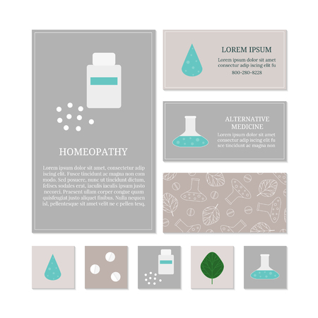homeopathy: Business card templates with medical icons. Branding elements for homeopathy and herbal medicine. Can be used for flayers, cards, menu, posters. Place for text. Corporate cards templates. Illustration