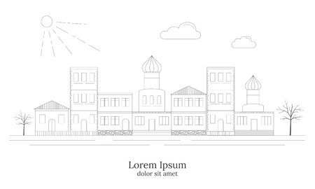 townhouses: Linear style City landscape, detailed Europe houses. Outline facilities. Various townhouses, small markets, town street architecture. Can be used for motion, graphic, web design. Old town concept. Illustration