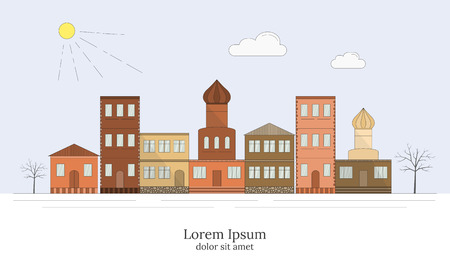 landscape architecture: Linear style City landscape, detailed Europe houses. Various townhouses, small markets, town street architecture. Can be used for motion, graphic, web design. Old town concept.