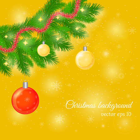 trumpery: Christmas and New Year background with pine tree twigs, glossy balls and trumpery. Beautiful Christmas greeting card with realistic pine twigs. Christmas pine twig with ornament on golden background. Illustration