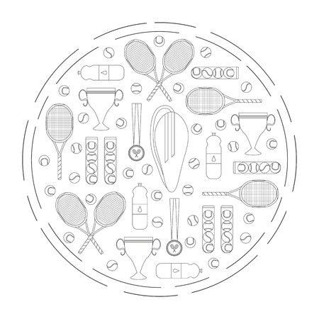 used items: Big tennis items composed in circle shape. Vector graphic illustration. Can be used for banners, flayers, web. Outline tennis elements in circle.