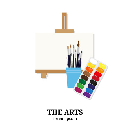 school kit: The Arts. Easel, paintbrushes and paints isolated on white background. Flat style elements. Fine art concept.