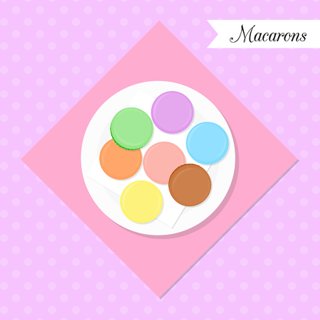 flavors: French macarons on the plate. Top view. Colorful macarons with different flavors and cream on dotted background.