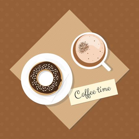 застекленный: Coffee time. Coffee Latte Macchiato with glazed chocolate donut on dotted background. Flat style food elements. Иллюстрация