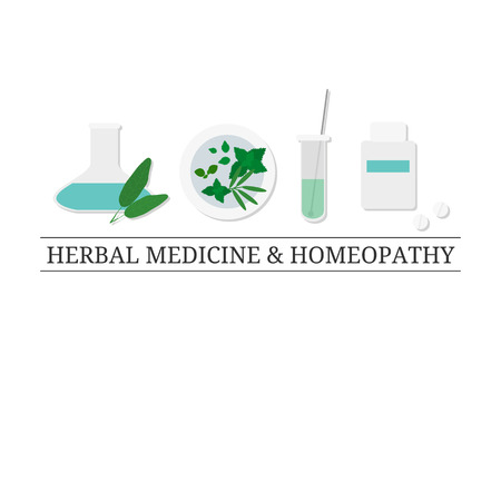 tagline: Logo design template with flat medical items. Medical icons on white background. Herbal potion, test tube, homeopathic supplements, bottle. Alternative pharmacy. Tagline. Place for your text.