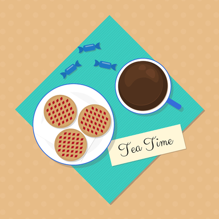 black tea: Tea time concept. Black tea with cookies and candies on dotted background. Flat style food elements. Illustration