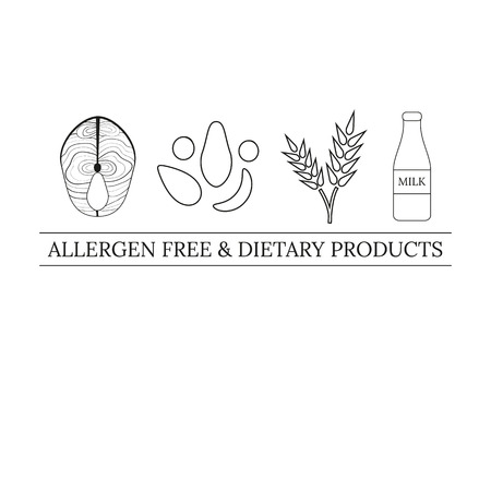 allergens:  design template with allergens icons. Thin line and outline allergens icons isolated on white background. Tag line. Fish, nuts, wheat, milk. Allergens free and dietary products.