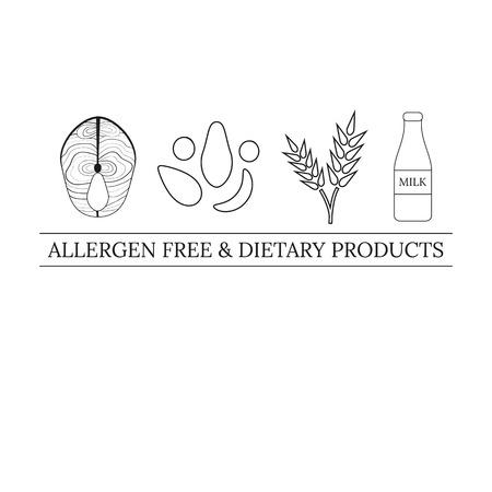 alergenos: plantilla de dise�o con alergenos iconos. De l�nea y contorno al�rgenos Thin iconos aislados sobre fondo blanco. L�nea de la etiqueta. El pescado, los frutos secos, trigo, leche. Al�rgenos productos gratis y diet�ticas.