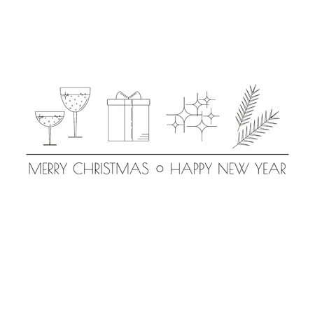 articles: Linear Christmas icons with tag line. Glasses of wine, present box, Christmas lights, fir twigs. Can be used for greeting cards, articles, web and mobile design. Christmas concept.