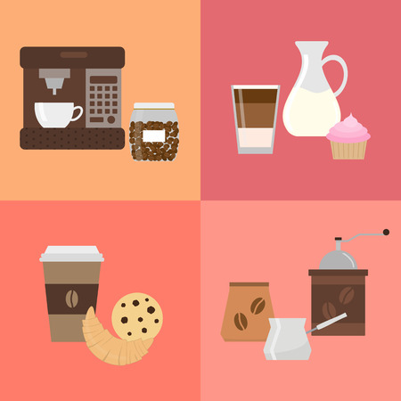 cafe latte: Different flat coffee icons. Colorful icons for coffee shop and cafe. Coffee maker and coffee in glass. Latte, milk, cupcake. Croissant, cookie and coffee. Grinder, coffee pack, coffee pot.