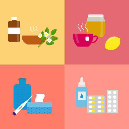 hot water bottle: Flu and cold treatment concept. Medical icons for health treatment and care in flu season. Herbal potion. Lemon, honey and tea. Pills and supplements. Thermometer, hot water bottle, towels. Illustration